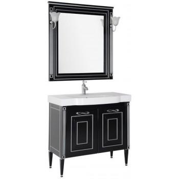 Комплект мебели для ванной Aquanet Паола 90 черный/серебро (керамика)