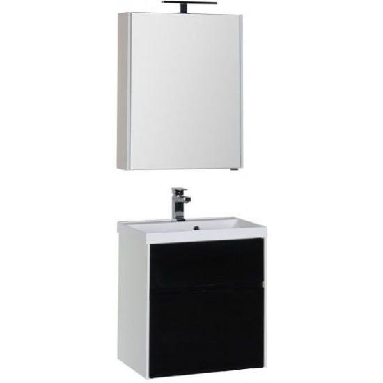Комплект мебели для ванной Aquanet Латина 60 черный (2 ящика) в интернет-магазине ROSESTAR фото