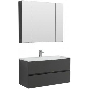Комплект мебели для ванной Aquanet Алвита 100 серый антрацит
