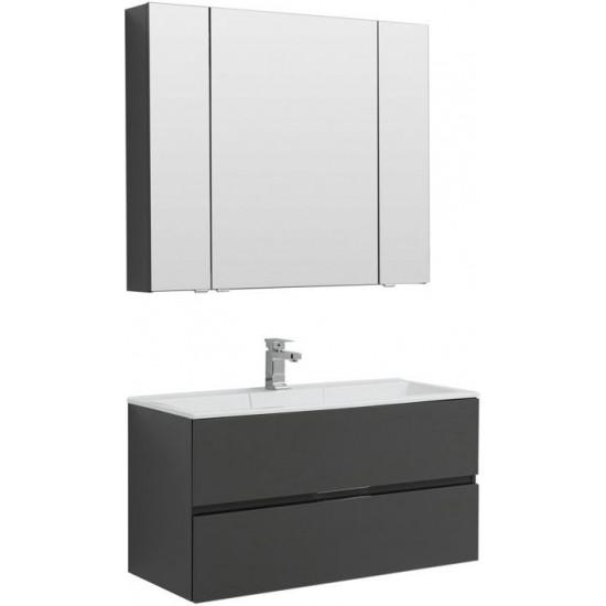 Комплект мебели для ванной Aquanet Алвита 100 серый антрацит в интернет-магазине ROSESTAR фото