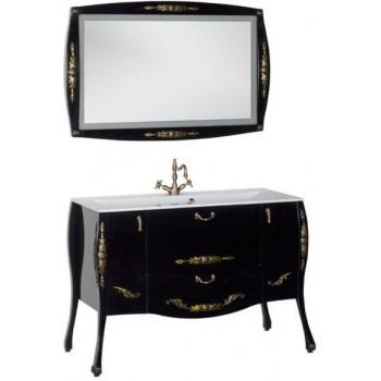 Комплект мебели для ванной Aquanet Виктория 120 черный/золото