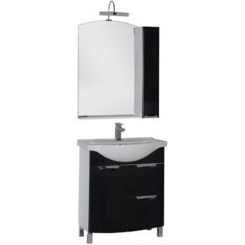 Комплект мебели для ванной Aquanet Асти 75 бк черный (зеркало шкаф/полка)