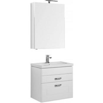 Комплект мебели для ванной Aquanet Рондо 70 белый (2 ящика, зеркало камерино)
