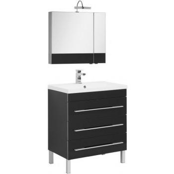 Комплект мебели для ванной Aquanet Верона NEW 75 черный (напольный 3 ящика)