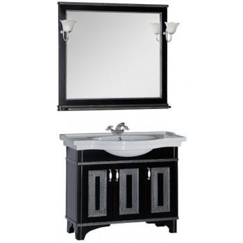 Комплект мебели для ванной Aquanet Валенса 100 черный краколет/серебро