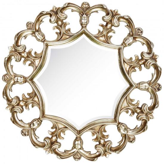 Круглое зеркало в раме Florian Silver  в интернет-магазине ROSESTAR фото