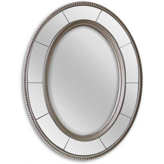 Овальное зеркало в серебряной раме Lorena Silver  в интернет-магазине ROSESTAR фото