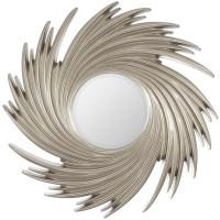 Зеркало солнце в серебряной раме Tornado Silver