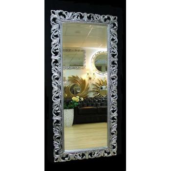 Большое настенное и напольное зеркало в полный рост «Милан» Чернёное Серебро