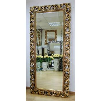Большое настенное и напольное зеркало в полный рост «Милан» Чернёное Золото