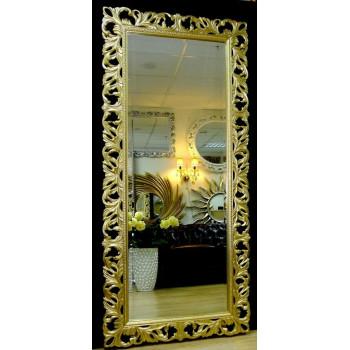 Большое настенное и напольное зеркало в полный рост «Милан» Светлое золото