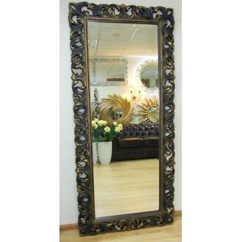 Большое настенное и напольное зеркало в полный рост «Милан» Венге с Золотом