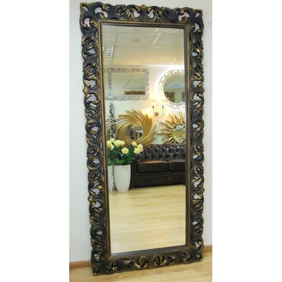 Большое настенное и напольное зеркало в полный рост «Милан» Венге с Золотом в интернет-магазине ROSESTAR фото