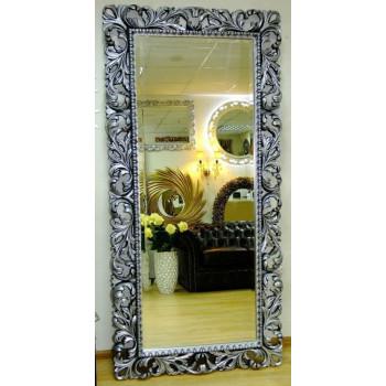 Зеркало большое на стену/напольное в раме «Монако» Чернёное Серебро