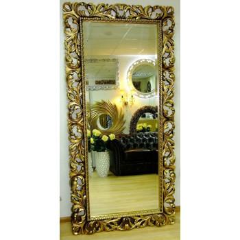 Зеркало большое на стену/напольное в раме «Монако» Чернёное Золото