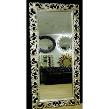 Зеркало большое на стену/напольное в раме «Монако» Серебро Шампань