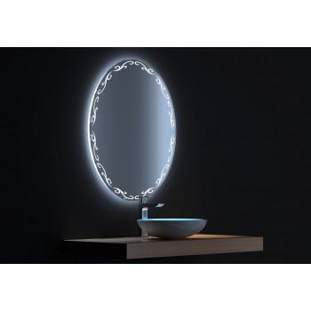 Овальное зеркало с сенсорной LED подсветкой Декор 60х80