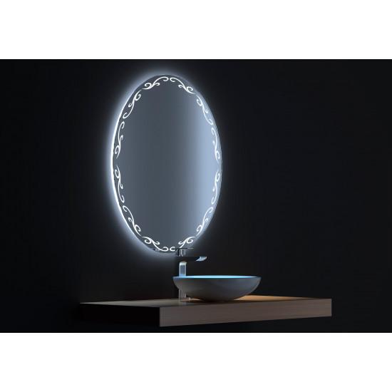 Овальное зеркало с сенсорной LED подсветкой Декор 60х80 в интернет-магазине ROSESTAR фото