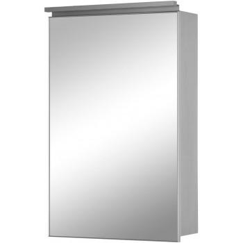 Зеркальный шкаф в ванную навесной с подсветкой «Алюминиум» 50