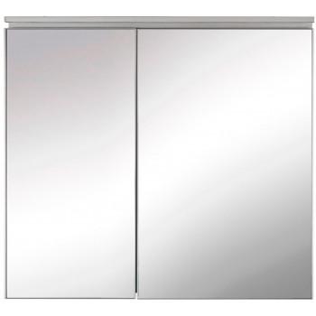 Зеркальный шкаф в ванную навесной с подсветкой «Алюминиум» 80