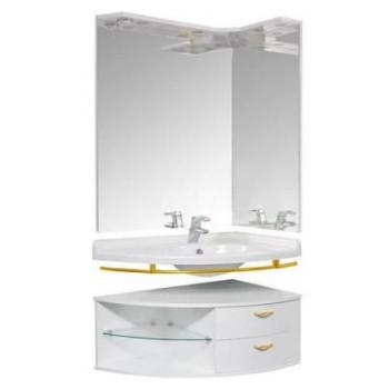 Угловое зеркало с подсветкой Трио Левое Золото