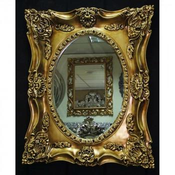 Дизайнерское зеркало в интерьерной раме «Империал» Чернёное Золото