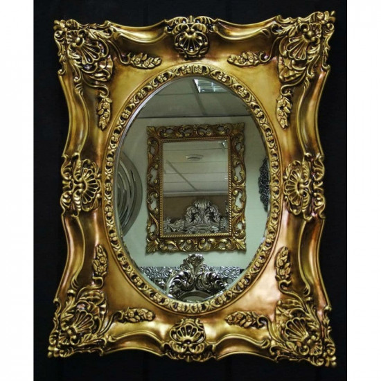 Дизайнерское зеркало в интерьерной раме «Империал» Чернёное Золото в интернет-магазине ROSESTAR фото