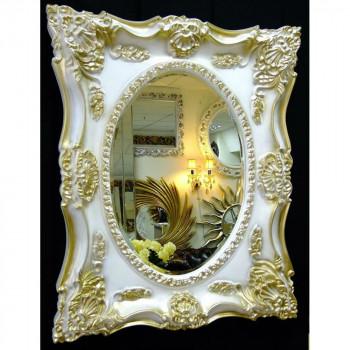 Дизайнерское зеркало в интерьерной раме «Империал» Слоновая кость с золотом