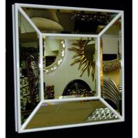 Венецианское квадратное зеркальное панно «Кристалл» Белый лак