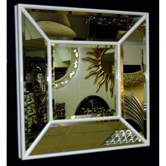 Венецианское квадратное зеркальное панно «Кристалл» Белый лак в интернет-магазине ROSESTAR фото