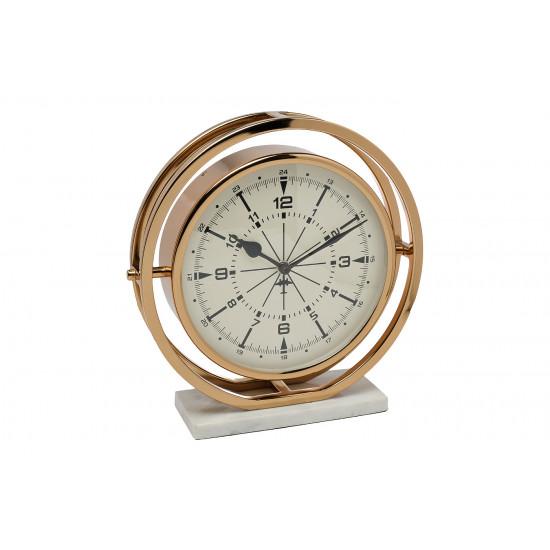 Часы настольные круглые на подставке цвет шампань 79MAL-5789-27G в интернет-магазине ROSESTAR фото