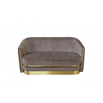 Велюровый двухместный диван серо-коричневый 87YY-1890-2 BRN