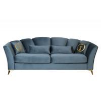 Велюровый трёхместный раскладной диван Annette Бирюзовый ANNETTE-3M-1K-БИРЮЗОВЫЙ-Riv87