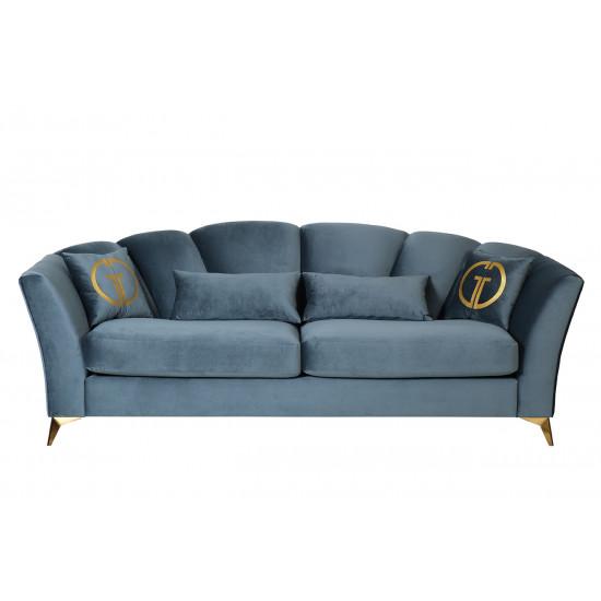Велюровый трёхместный раскладной диван Annette Бирюзовый ANNETTE-3M-1K-БИРЮЗОВЫЙ-Riv87 в интернет-магазине ROSESTAR фото