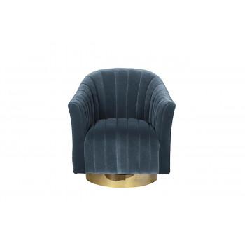 Велюровое кресло вращающееся голубое 48MY-W2588 LTB GO