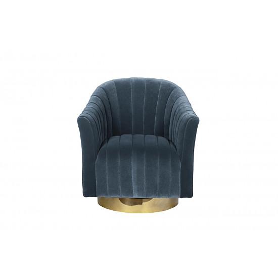Велюровое кресло вращающееся голубое 48MY-W2588 LTB GO в интернет-магазине ROSESTAR фото