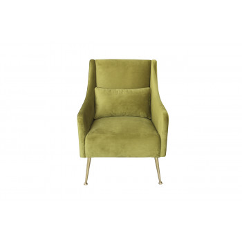 Оливковое велюровое кресло с подушкой 87YY-1914 OLV