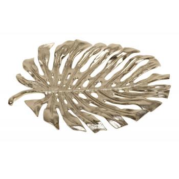 Декоративное металлическое золотое блюдо Лист монстеры 69-1119394