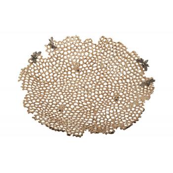 Декоративное металлическое золотое блюдо Соты 69-219013