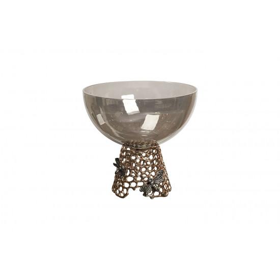 Декоративное блюдо Соты черное стекло/золото 69-219054 в интернет-магазине ROSESTAR фото