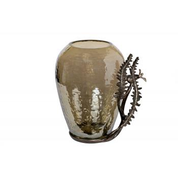 Стеклянная декоративная ваза Папоротники 29 см 69-918038