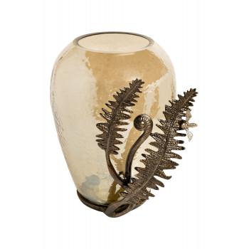 Стеклянная декоративная ваза Папоротники 22 см 69-918039
