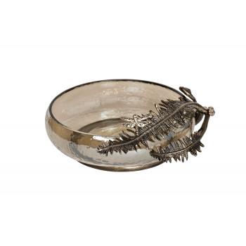 Стеклянная декоративная чаша Папоротники 69-918044