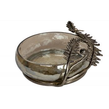 Стеклянная декоративная чаша Папоротники 69-918045