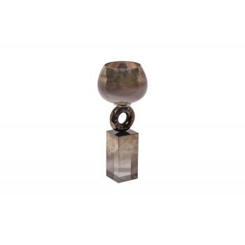 Стеклянный дымчатый подсвечник 71PN-3115