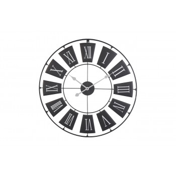 Часы настенные круглые металлические черные HZ1003320