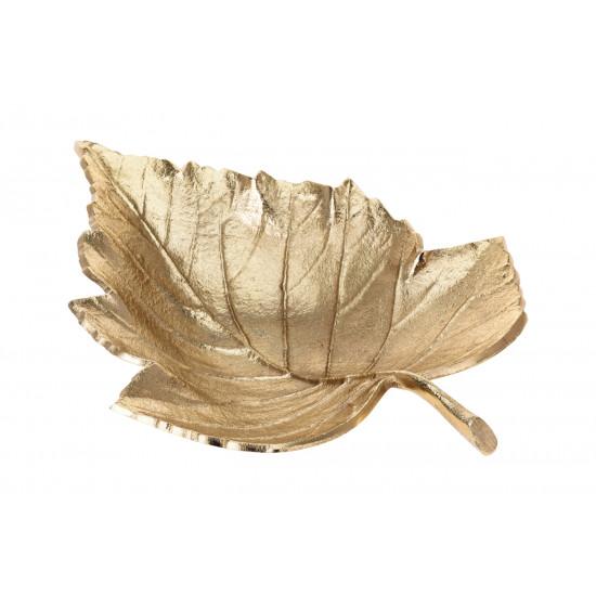 Декоративная золотая тарелка Лист A98003060 в интернет-магазине ROSESTAR фото