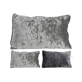 Декоративная велюровая подушка 30х50 см серая AAE322640