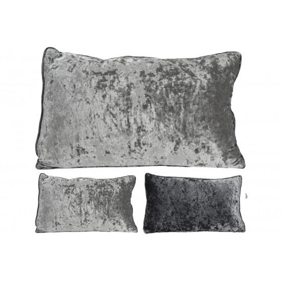 Декоративная велюровая подушка 30х50 см серая AAE322640 в интернет-магазине ROSESTAR фото