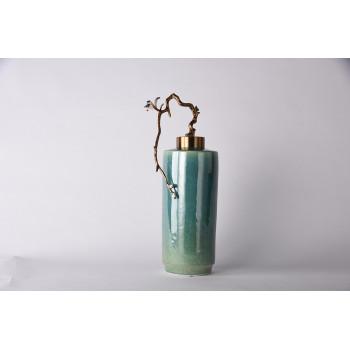 Керамическая декоративная бирюзовая ваза с ветвью 55RD4376L